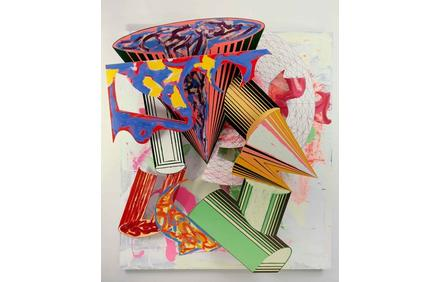Frank Stella (b.  1936), Gobba, zoppa e collotorto, 1985.  Oil, urethane enamel, fluorescent alkyd, acrylic, and printing ink on etched magnesium and aluminum.  137 × 120 1/8 × 34 3/8 in.  (348 × 305 × 87.5 cm).  The Art Institute of Chicago; Mr.  and Mrs.  Frank G.  Logan Purchase Prize Fund; Ada Turnbull Hertle Endowment 1986.93.  © 2015 Frank Stella/Artists Rights Society (ARS), New York