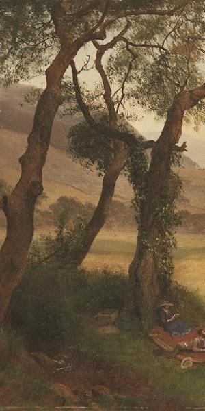 Albert Bierstadt, A Golden Summer Day near Oakland, c.  1873.  Oil on paper on Masonite, 16 9⁄16 × 22 ¼ in., Crocker Art Museum, Judith G.  and Steaven K.  Jones Collection.