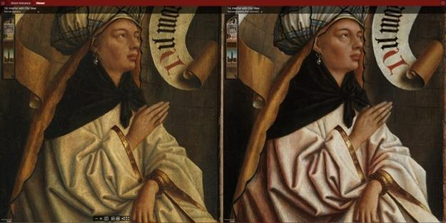 Detail of Erythraean Sibyl, before and after restoration, change of colour