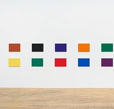 Ellsworth Kelly, Color Panels for a Large Wall II, 1978.  Oil on canvas, eighteen panels.  Overall: 42 1/4 x 370 inches; 107 x 940 cm.
