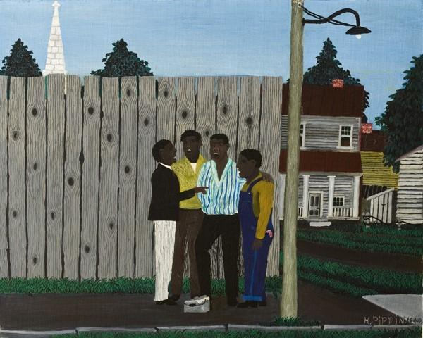 Horace Pippin (1888-1946) Harmonizing, 1944, oil on fabric.  Allen Memorial Art Museum, Oberlin College, Ohio.  Gift of Joseph and Enid Bissett, 1964