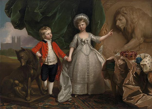 "Benjamin West (British American, 1738-1820) Portrait of Prince William and h¬¬¬is Elder Sister, Princess Sophia, 1779, oil on canvas, fr: 74 ⅛ x 98 ⅛""; unfr: 61 ⅜ x 85 ¼"""