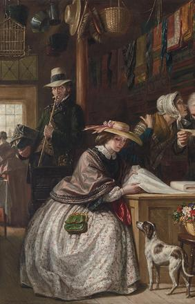 Daniel Huntington (American, 1816-1906) The Counterfeit Note, 1858.  Signed D.  Huntington and dated 1858.  Oil on canvas, 30 1/8 x 25 1/8 inches.  Sold for $406,000.  A World Auction Record for the Artist