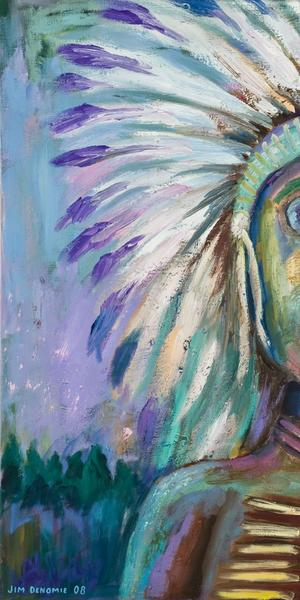 Jim Denomie (Ojibwe, born 1955) Blue Eyed Chief, 2008.  Oil on canvas.  Museum Purchase: Eiteljorg Fellowship