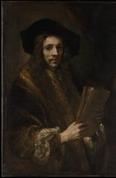 "Portrait of a Man (""The Auctioneer"").  The Met describes the work as by a Follower of Rembrandt (Dutch, third quarter 17th century)"