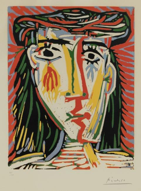 Pablo Picasso, Jacqueline au Chapeau de Paille, Color linocut, 1962.  Property from a Park Avenue Collection.  Est.  $40,000-60,000.  Lot 35.