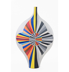 """Peter Pincus, Flattened bottle with Inverse Circle, 2019, 13.5 x 9 x 4"""" colored porcelain, gold luster"""