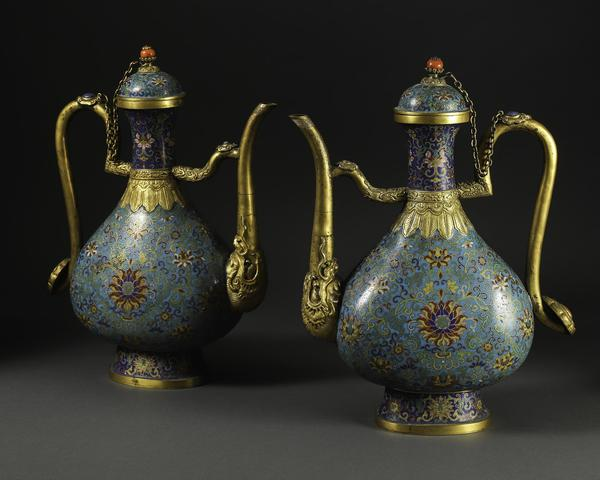 A pair of Chinese Cloisonné Ewers, Qianlong Mark, Qing Dynasty / Republic Period (Estimate: $30,000-50,000)
