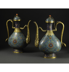 A pair of Chinese Cloisonné Ewers, Qianlong Mark, Qing Dynasty / Republic Period