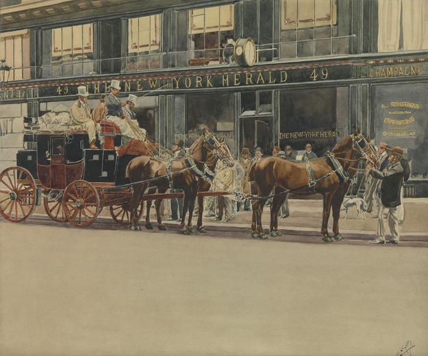"Berko Fine Paintings — ""Paris- Trouville In 10 Hours 50 Minutes and Thirteen Stages; The Departure (Avenue De L'Opera, P aris) in Front of the Offices of the New York Herald"" by Manuel Luque, Watercolor on paper, 13x15.5 in"