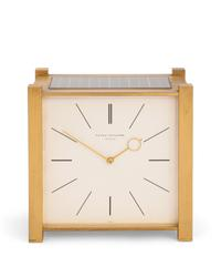 Patek Philippe solar powered gilt brass pendulette carrée clock, circa 1965 (est.  $2,000-$3,000).