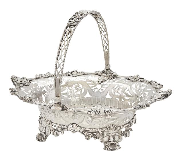 George II Silver Cake Basket, Paul de Lamerie, London, 1742.  Property from a Prominent Philadelphia Family.  Est.  $150,000-250,000.