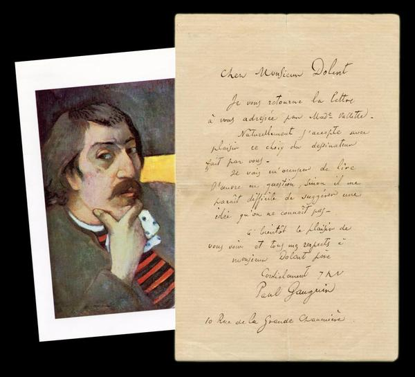 One-page letter written and signed by French Impressionist Paul Gauguin (1848-1903), from his days as a Parisian art student, with a color print of a self-portrait (est.  $18,000-$20,000).