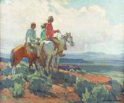 Edgar Alwin Payne (1883–1947), Navajo Scouting Party, oil on canvas, 28 x 34 in, Estimate: $400,000–$600,000