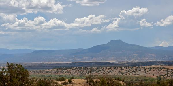"""Cerro Pedernal, viewed from Ghost Ranch.  This was a favorite subject for O'Keeffe, who once said, """"It's my private mountain.  It belongs to me.  God told me if I painted it enough, I could have it."""" Image via Wikipedia, by Artotem from Here, There, and...  - Ghost Ranch - The Mountain She Claimed."""