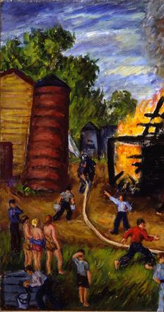 Waldo Peirce (b.1884, d.1970), The Fire at East Orrington, 1940, Oil on canvas, 27 x 40 1/16 inches, Museum purchase, 1950.708