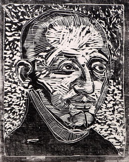 Peter Genßler, Ignatius v.  Loyola, from the cycle 28 faces of the Reformation hand-rubbed woodblock print on paper, 80 x 60 cm, 15.75'' x 12.6''