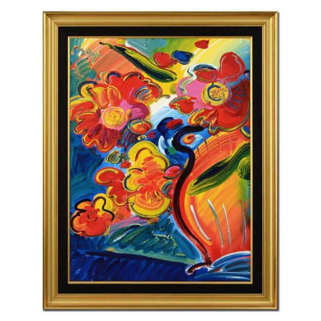 Original acrylic painting on canvas by Pop Art icon Peter Max (b.  1938), titled Flowers, hand-signed by the artist and housed in a custom frame.