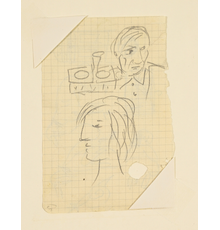 Pablo Picasso (Spanish, 1881-1973), Self Portrait with Marie-Therese Walter, Pencil on Paper