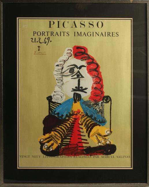 Color lithograph on grey-ochre paper signed by Marcel Salinas (French, 1913-2010), after one of the 29 paintings from Pablo Picasso's cycle Portraits Imaginaires (est.  $1,000-$1,500).