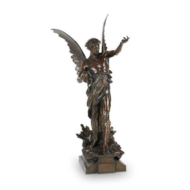 Patinated bronze sculpture by Emile Louis Picault (French, 1860-1915), used as the mascot for the 1906 Ten-Mile Corinthian Automobile Championship in Florida (est.  CA$15,000-$20,000).