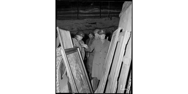 Generals Dwight D.  Eisenhower, Omar N.  Bradley, and George S.  Patton inspect art found in the Merkers salt mine, April 12, 1945, image courtesy of National Archives at College Park, MD