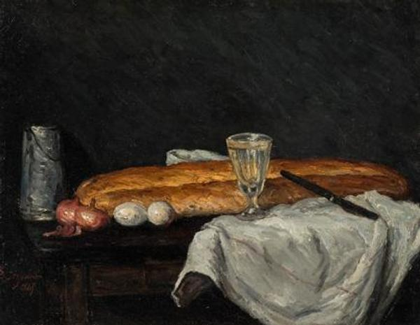 Paul Cézanne (1839–1906), France, Still Life with Bread and Eggs, 1865, oil on canvas, Cincinnati Art Museum; Gift of Mary E.  Johnston, 1955.73