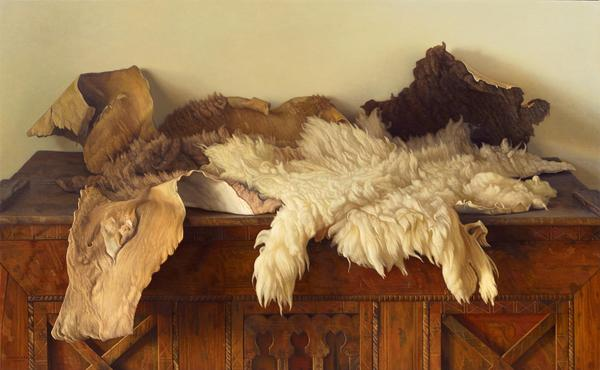 Claudio Bravo, Camel and Lamb Skins, 2004, oil on canvas, 35 x 57 1/8 inches