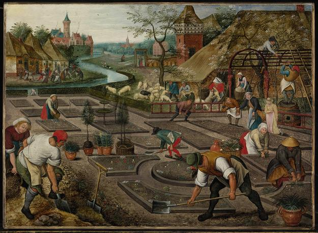 "Pieter Brueghel the Younger (1564 – 1637/8), ""Spring."" Oil on panel, 16 1/2 by 22 1/2 in.; 41.9 by 57.2 cm."