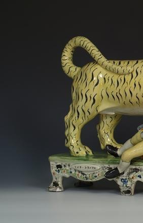 A Rare Staffordshire Pearlware Table Base Group of 'The Death of Munroe,' 1820/30