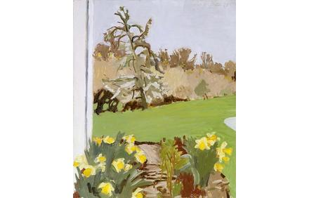 """Fairfield Porter (1907-1975), """"Daffodils and Pear Tree,"""" 1973, oil on Masonite, 22 1/2"""" x 18 1/2"""", signed"""