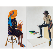 Benny Andrews (1930-2006), Portrait of the Portrait Painter (Portraits of...  Series), 1987, oil and graphite on two canvas panels with painted fabric collage, 80 x 100 x 3/4 inches / 203.2 x 254 x 1.9 cm, signed