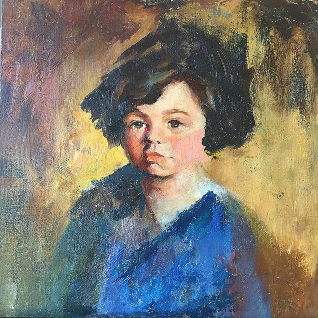 "Margery Ryerson, ""Portrait of a Girl,"" c.  1920-1925, oil on canvas, 17 x 17"