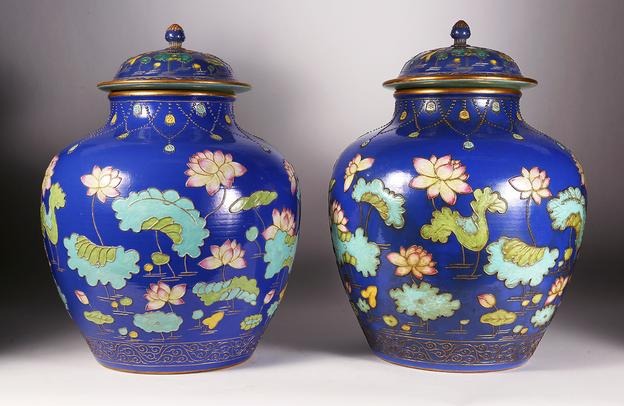 "A rare pair of Chinese ""Fahua-style"" Lotus Jars and Covers from the Qing Dynasty"