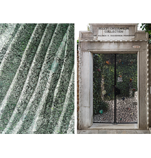 Left: Beyond silk fabric, part of Rubelli's 2021 textile collection Di Varia Natura; © 2021 Rubelli Spa Right: Claire Falkenstein, Entrance Gates to the Palazzo, 1961, iron and colored glass, two elements: 109 x 71 3/8 inches / 277 x 181.2 cm overall; Peggy Guggenheim Collection, Venice, Italy (Solomon R.  Guggenheim Foundation, New York); Image: © Peggy Guggenheim Collection; Photographer Matteo De Fina