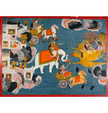 Opaque watercolor and gold leaf on paper Harivasma illustration attributed to Purkhu of Kangra (Indian, active circa 1780-1820), depicting Krishna riding Garuda (est.  $10,000-$20,000).