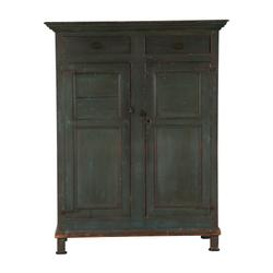 Furniture pieces from the Brian Stead collection include a painted pine armoire made in Quebec, Canada in the 1850s having raised panel ends, 72 ½ inches tall (est.  CA$2,000-$3,000).