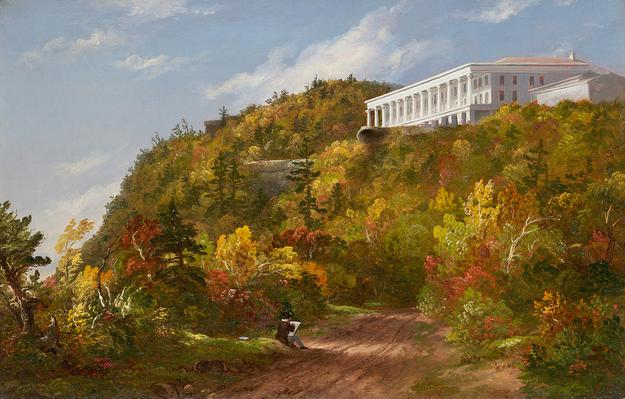 "Thomas Cole (1801–1848), ""Catskill Mountain House,"" oil on canvas, 15 x 23 inches, initialed lower center: TC From The Jack Warner Foundation, available at Questroyal Fine Art, LLC, New York, New York"