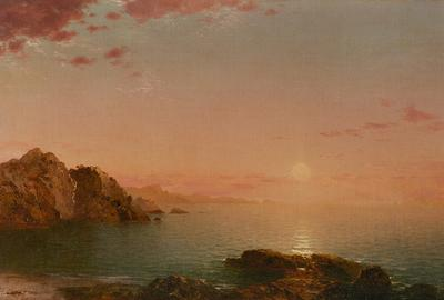 John Frederick Kensett (1816–1872) Pro Patria (Sunset on the Coast), 1864 Oil on canvas 141/16 x 241/16 inches Monogrammed and dated lower right: JF.K.  '64 Available at Questroyal Fine Art, LLC, New York, New York