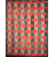 Antique Hooked Rug, Red-topped Cubes in a row.