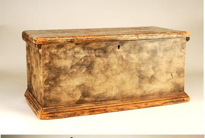 Smoke Decorated Box With Fitted Interior American, Ca.  Early 19th Century Pine with dovetailed construction and original smoke decoration.  Decorated interior fitted with a case of 5 drawers.  Ex.  Margaret Canavan.