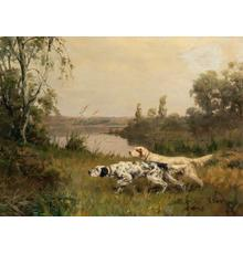 Percival Leonard Rosseau (1859-1937), Setters on the Scent, 1910, Signed and dated, Oil on canvas, 23 7/8 x 32 inches.  The Estate of Laura M.  Mako.  Est.  $15,000-25,000.
