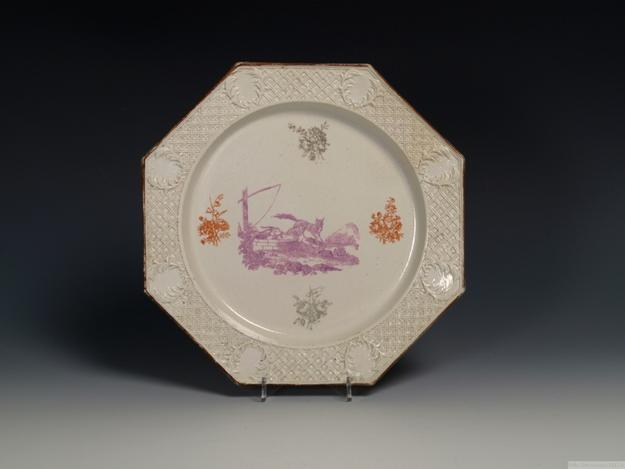A rare triple colored transfer printed salt- glazed stoneware plate, 1756/60