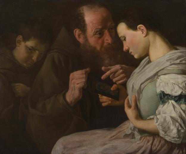 GASPARE TRAVERSI (Napoli 1722 ca.  - Roma 1770) The Monk, the Novice, and the Maiden Oil on canvas 24 3/8 x 29 1/8 inches (62 x 74 cm.)