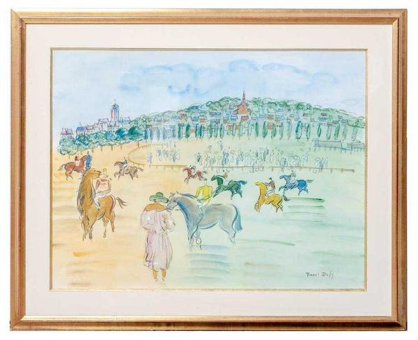 Untitled (Chevaux a Deauville) figural landscape by Raoul Dufy (French, 1877-1953), one of two figural watercolor paintings by Dufy in the sale (est.  $20,000-$40,000).