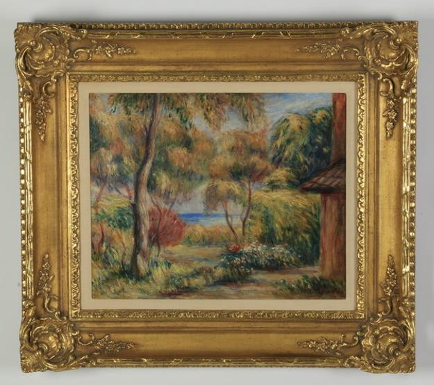 Original painting by French artist Pierre Auguste Renoir (1841-1919), titled Paysage de Cagnes.