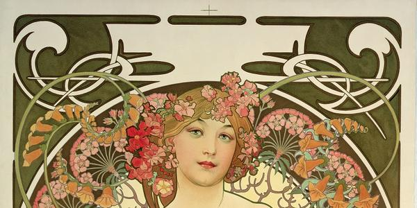 Alphonse Mucha, D ayd ream ( Rêverie ) , 1897 , c olor lithograph , 28 5/8 × 21 3/4 in., Mucha Trust Collection, © 2021 Mucha Trust