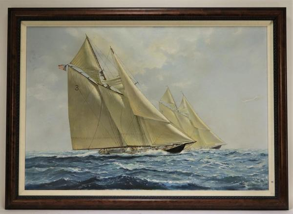 "Oil on canvas seascape of a large sailing vessel in choppy waters by Richard K.  Loud (Mass., b.  1942), 38 inches by 26 inches (sight), signed ""RKLoud"" and framed (est.  $3,000-$5,000)."