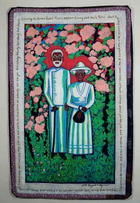 Faith Ringgold, Coming to Jones Road Part II #4 Aunt Emmy and Uncle Tate, 2010 Acrylic on Canvas, 55 x 35 1/2