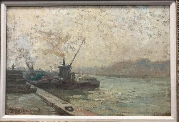 Oil on canvas painting by Theodore Robinson (Am., 1852-1896), titled On the Seine, artist signed lower left, 22 inches by 15 inches ($7,250).